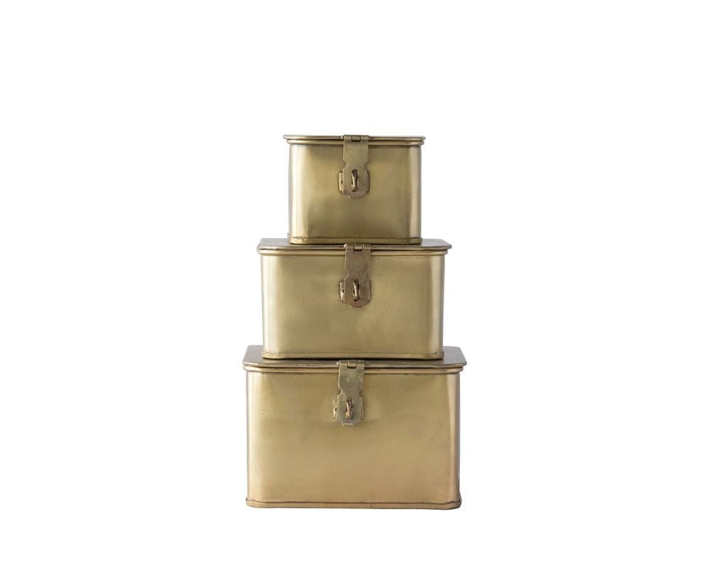 Metal Boxes, Brass Finish, Set of 3