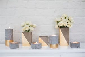 Light Concrete & Gold Candleholder - 5 Styles