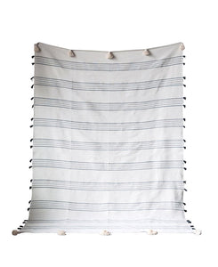 Gaze Hand-Loomed Cotton Striped Bed Cover, Grey w/ White Tassels