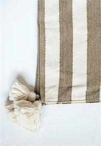 Woven Metallic Striped Throw w/ Tassels