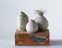 Yuma Stoneware Textured Vases, White + Black, 3 Sizes