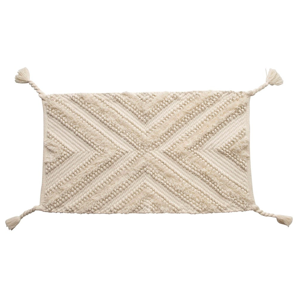 Athens Woven Cotton Patterned Rug w/ Braided Tassels - Natural