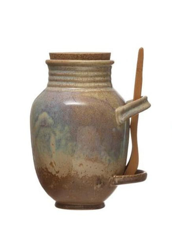 Olivina Vintage Reproduction Stoneware Olive Jar w/ Cork & Tongs - Taupe