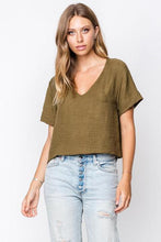 Crystal Loose Fit Short Sleeved Deep V Crop Top