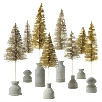 Gold Bottle Brush Tree with Light Concrete Stand