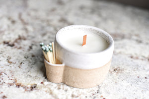 Carmel Match Strike Ceramic Candle - Amber
