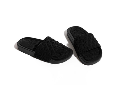 Ray Of Sunshine Quilted Slides - Black