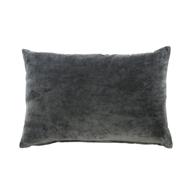 Charcoal Solid Velvet Lumbar Pillow