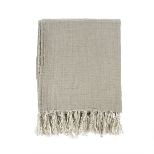 Callie Linen Tassel Throw - Beige