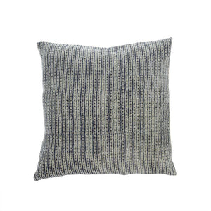 Denim Block Print Linen Pillow