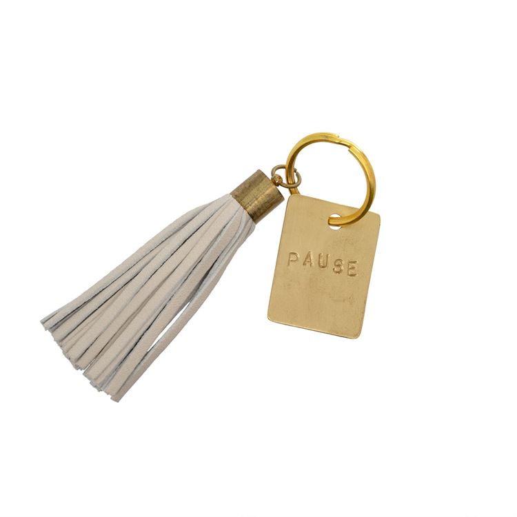 'Pause' Leather + Gold Keychain