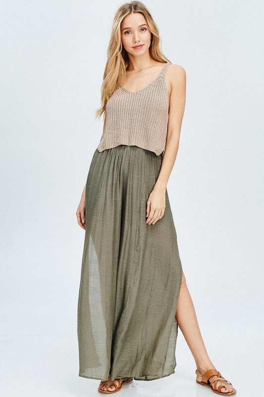 Roller High Slit Woven Palazzo Pants