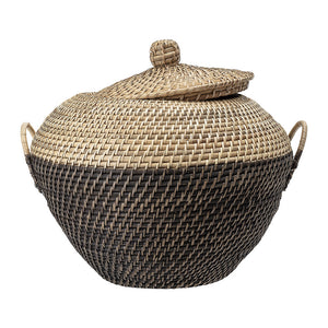 Casey Rattan Woven Basket w/ Lid & Handles - Medium - Black & Natural