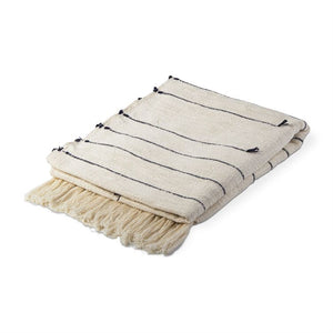 Natalia Striped Throw - Natural + Black