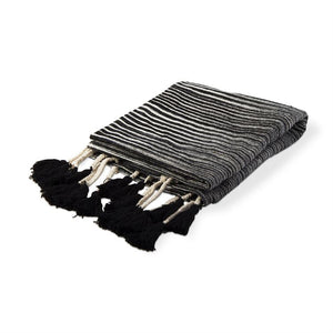 Tiana Tie-Dye Throw w Tassels - Black + Ivory