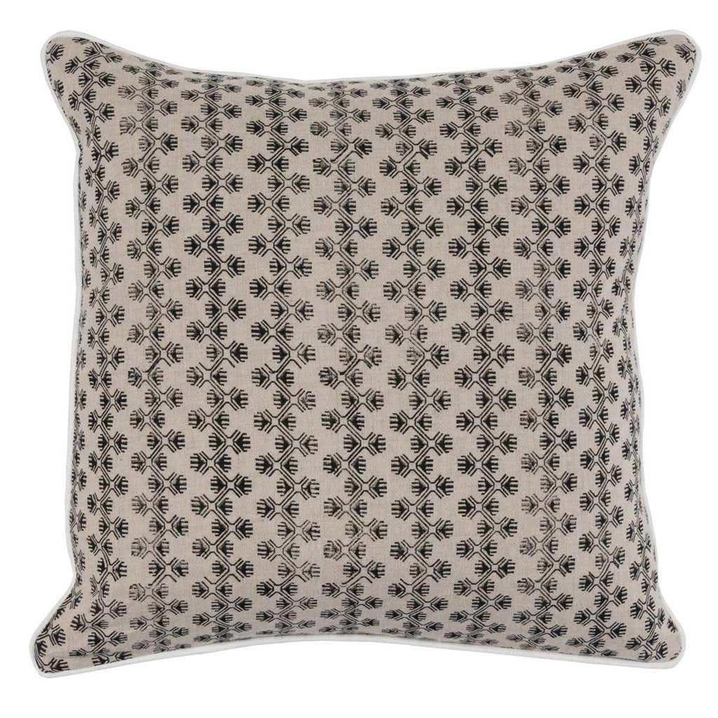 Ollie Natural Pillow - Black