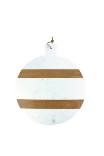 White Marble and Wood Stripe Round Board with Handle - Extra Large