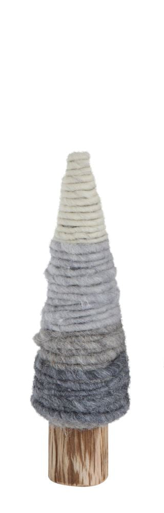Wool Yarn Tree on Wood Base, Grey - 2 Sizes