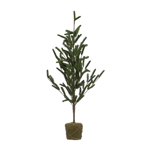Snowfall Faux Pine Tree in Moss Base - Green