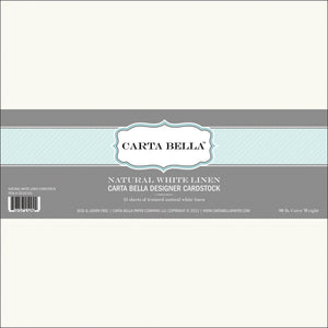"Carta Bella Designer 80lb Cover Cardstock 12""X12""-Natural White Linen - Case Pack of 25"