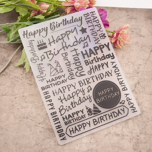 Happy Birthday Plastic Embossing Folder