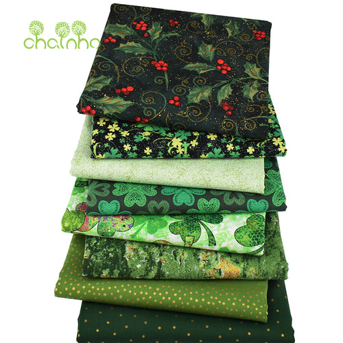 8pcs/lot Cotton Fabric for Christmas and St. Patrick's Day