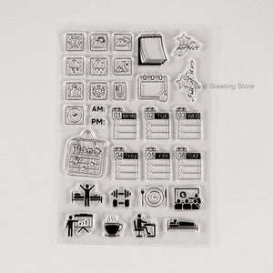 Daily Life Planner Clear Stamps (Week day stamp, Bullet journal stamps)