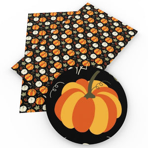 20*34cm Pumpkin Halloween Faux Artificial Synthetic Leather