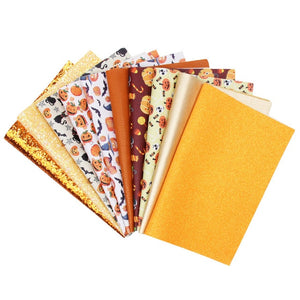 10pcs/set 22*30cm Halloween Printed Glitter Faux Synthetic Leather