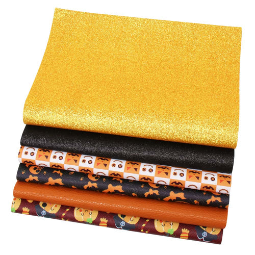 6pcs/set Faux Synthetic Leather Sheets (Halloween)