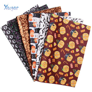 6pcs/set 22*30cm Halloween Faux Leather (Printed and Glitter)