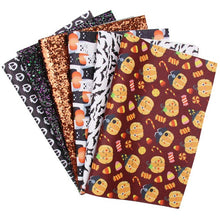 Load image into Gallery viewer, 6pcs/set 22*30cm Halloween Faux Leather (Printed and Glitter)