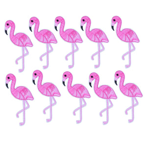 10pcs Pink Flamingo embroidered patches