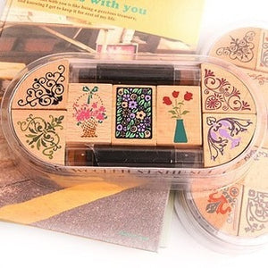 7pc/SET with 2 ink pen Assorted Vintage Floral Flower Pattern Wooden Rubber Stamp