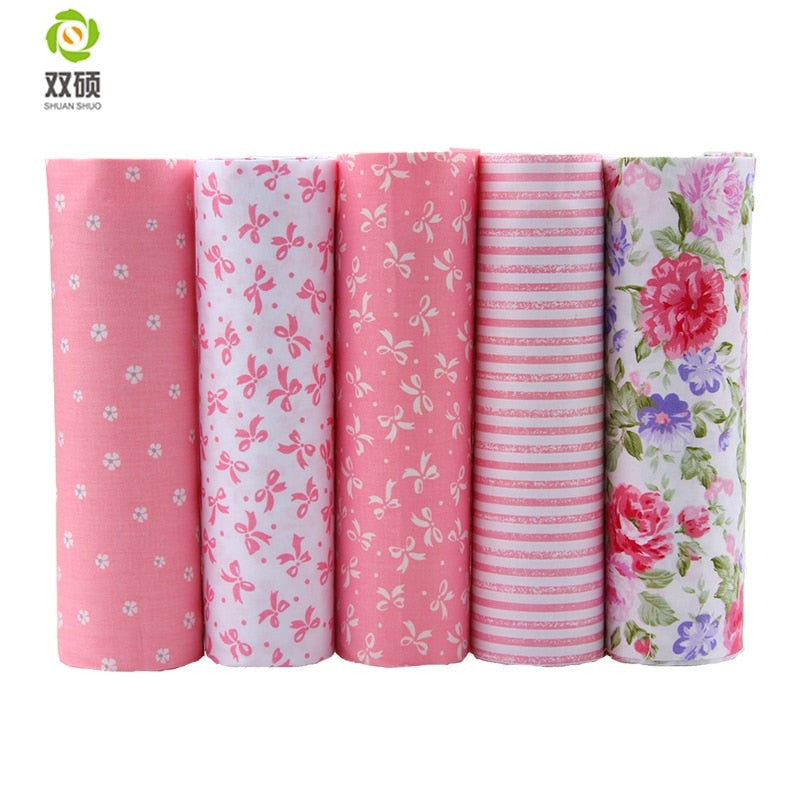 Pink Floral Cotton Fabric 5 Different Colors