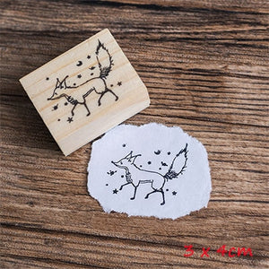 Vintage Cartoon Little Prince Wood Stamp