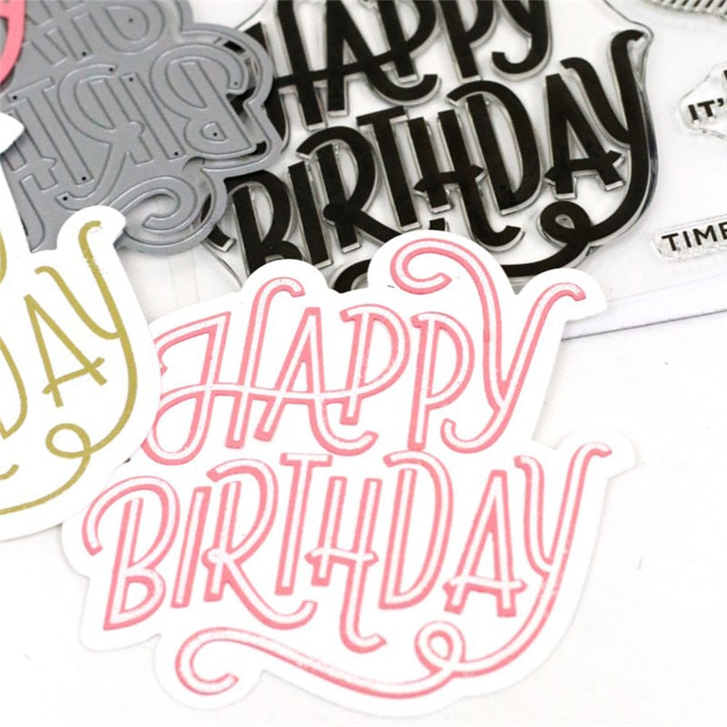Happy Birthday Words Die Stamp Sets