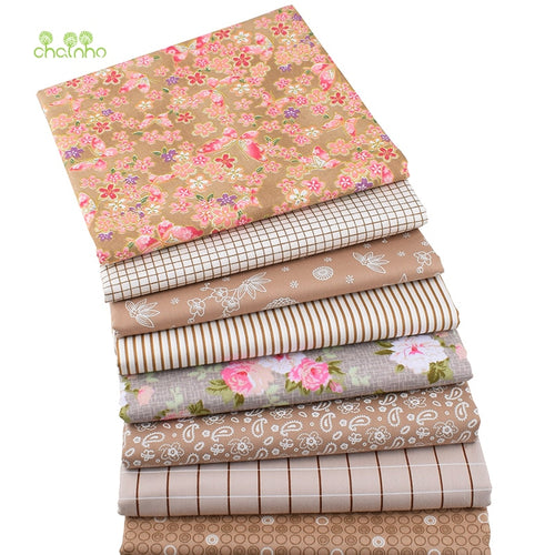8pcs/lot,Brown Floral Series,Printed Twill Cotton Fabric