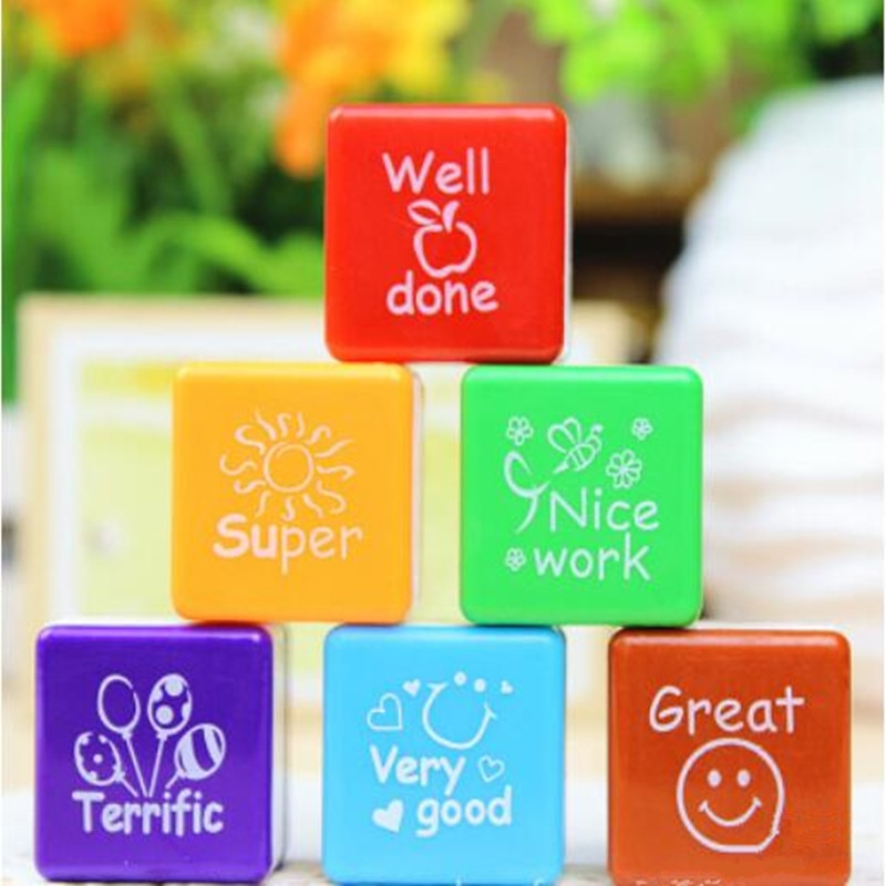 6pcs/set Teachers Stamps for Motivation, School, Praise, and Reward