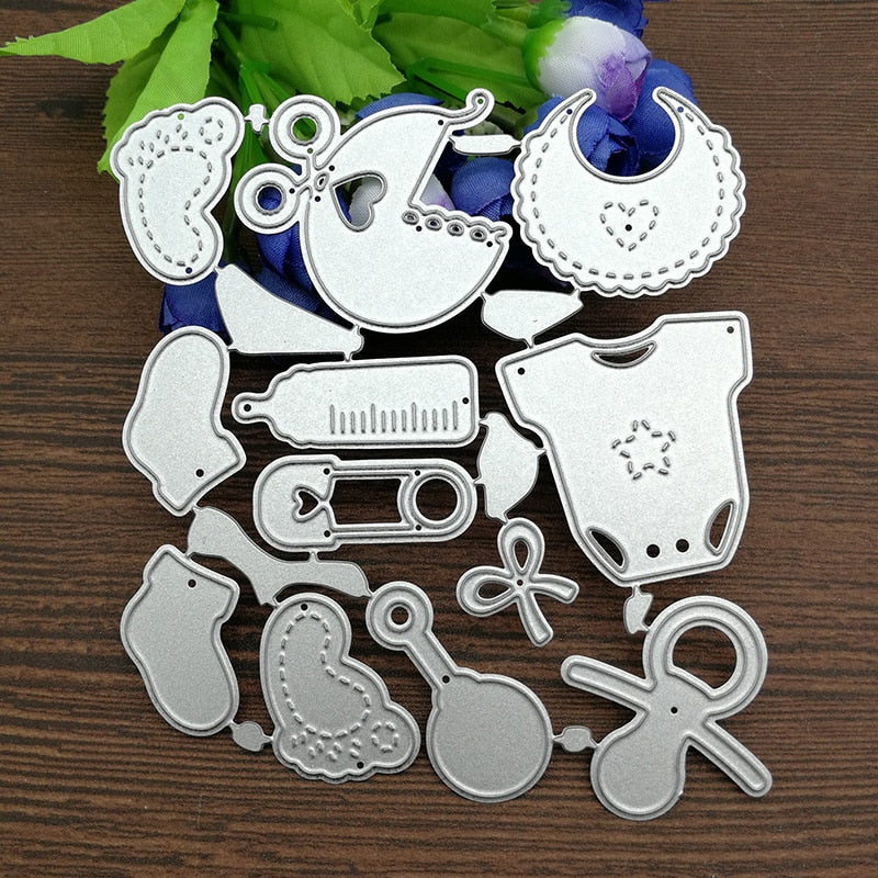 12 PCS/Set Cute Baby Suit Metal Cutting Dies