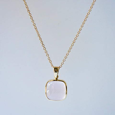 Cushion Rose Quartz Pendant