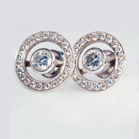Diamond Set Halo Earrings