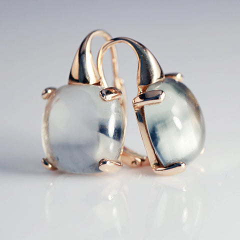 Apple Topaz Cabochon Drop Earrings