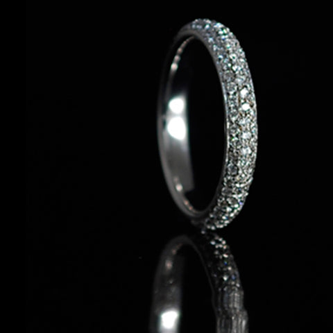 Pave Set Diamond Bombe Ring