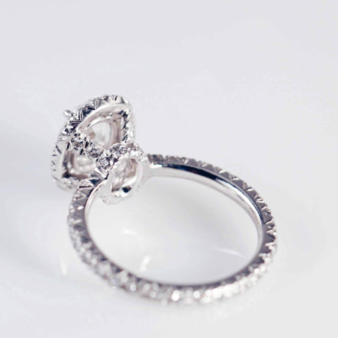 Oval Diamond Micro-Pave Set Cluster Ring