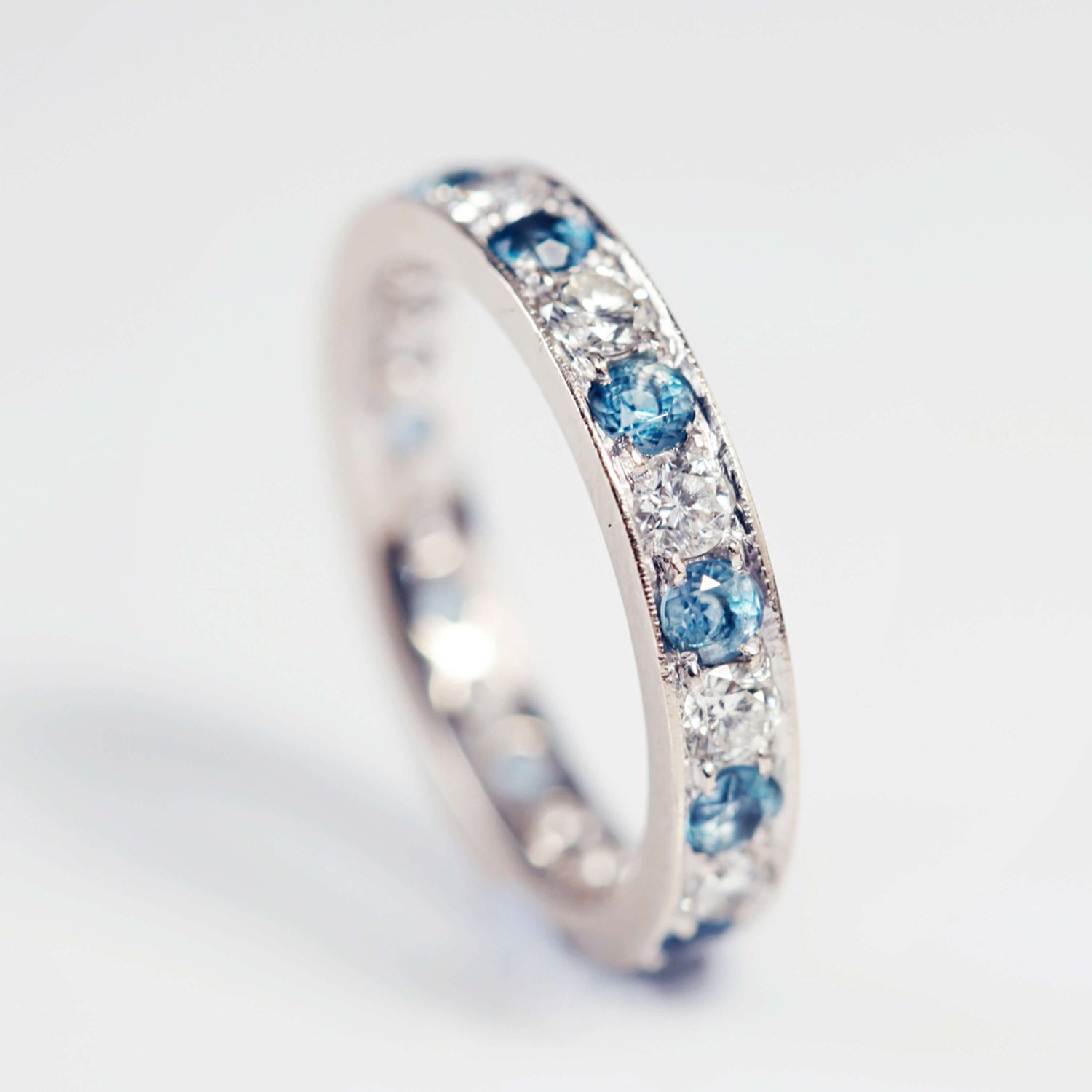 Aquamarine And Diamond Eternity Ring
