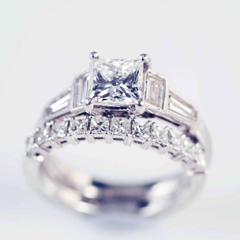 Princess Cut Diamond Ring With Baguette Diamond Shoulders