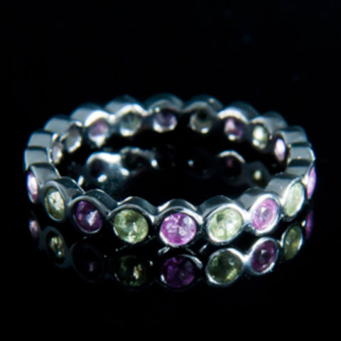 Peridot And Pink Sapphire Eternity Ring