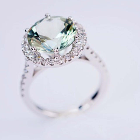 Green Sapphire And Diamond Ring