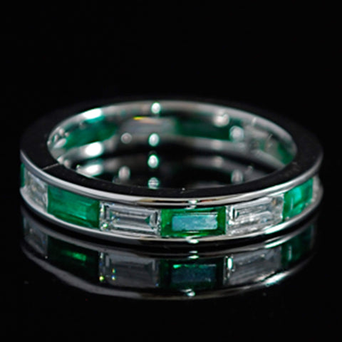 Emerald and Diamond Channel Set Eternity Ring